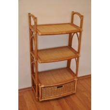 Ratanová komoda 3 poschodia+zásuvka-medová