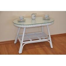 Ratanový stôl Fabion ovál,biela